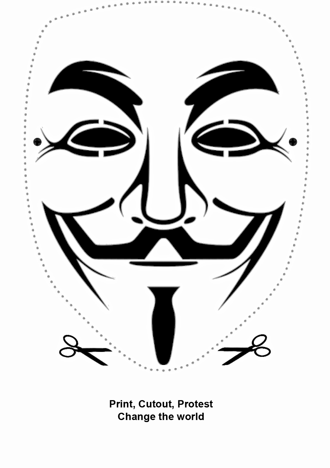 guy fawkes mask paper cutout